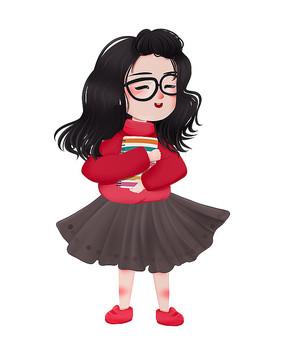 原创可爱卡通抱书女孩
