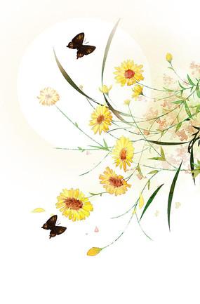 原创手绘菊花新中式玄关原画装饰画兰花草