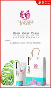 美丽人鱼化妆品美妆美体logo商标志设计