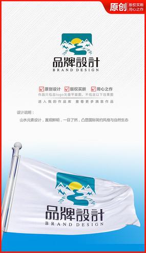 山水自然生态河流logo商标志设计