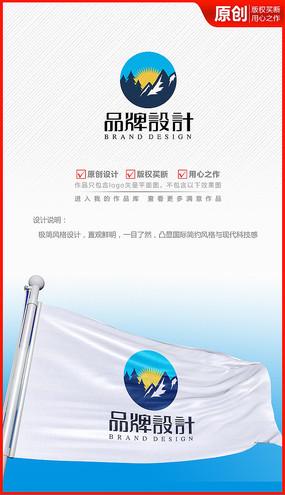 雪山峰太阳光户外logo商标志设计
