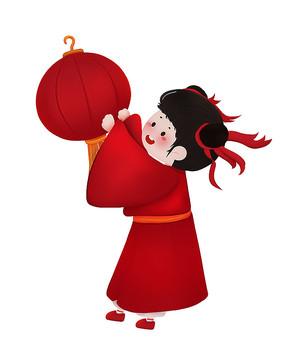 原创传统节日大红新年灯笼女孩