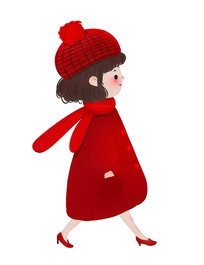 原创卡通红衣可爱女孩
