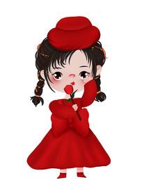 原创可爱卡通玫瑰女孩