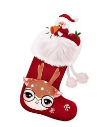原创可爱卡通圣诞老人袜鹿头