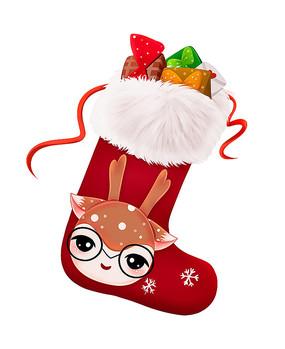 原创可爱卡通圣诞鹿头袜