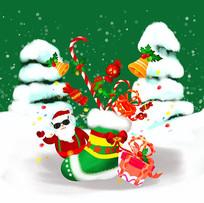 原创手绘插画圣诞节平安夜