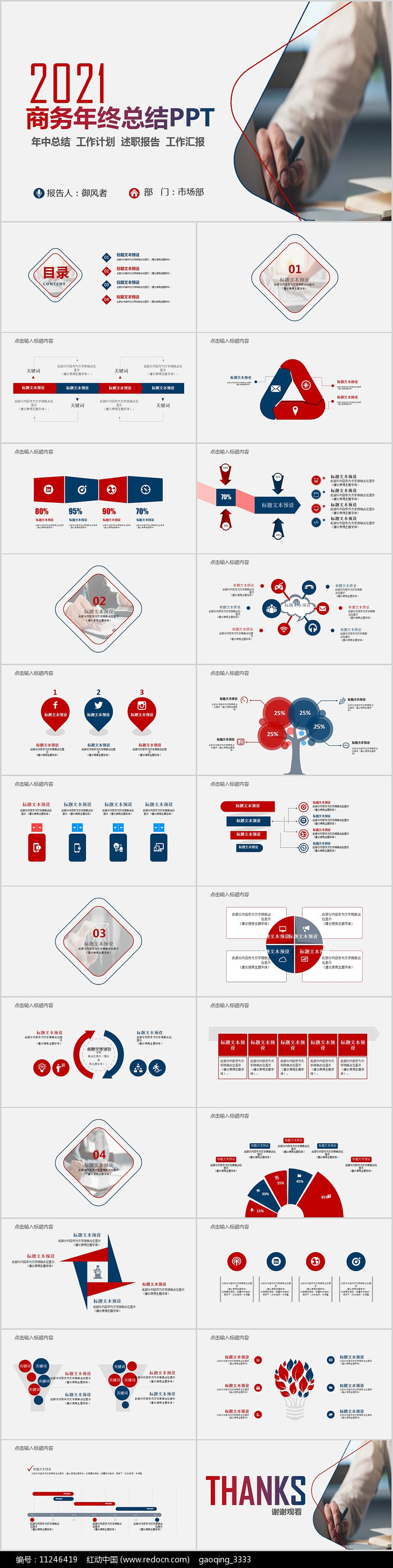 2021商务年终总结工作计划PPT图片