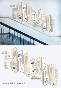 国学经典楼梯墙设计