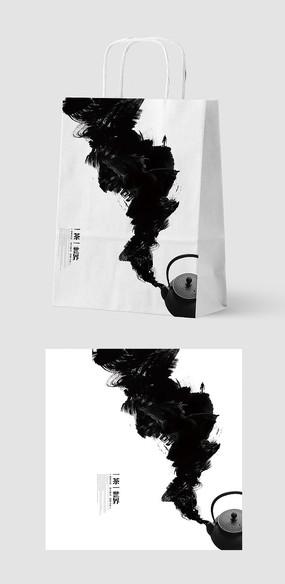 简约创意水墨风茶叶手提袋包装设计