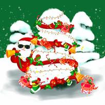 原创手绘圣诞节平安夜