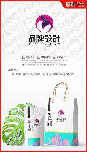 爱心绿叶绿色天然化妆品logo商标志