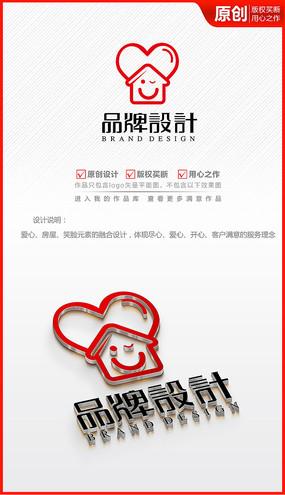爱心微笑房地产中介装饰公司logo