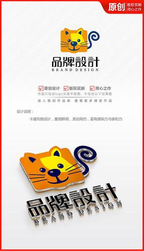 卡通儿童大脸小猫咪logo商标志设计