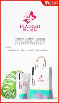 美丽美妆蝴蝶logo商标志设计