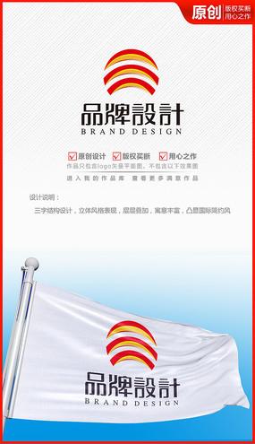 三字体太阳立体公司企业logo商标志设计