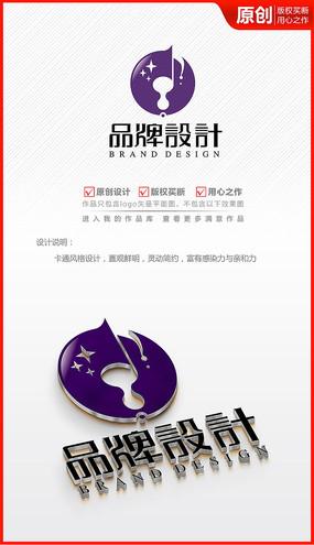 音乐符乐器琴行logo商标志设计
