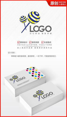 棒棒糖立体卡通可爱logo商标志设计
