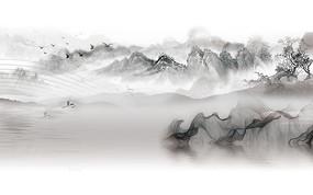 抽象飞鸟装饰山水背景墙