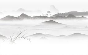 飞鸟日出山水背景墙