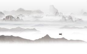 高端抽象渔船山水背景墙