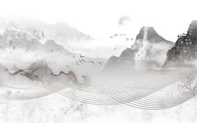 高端山水日出装饰山水背景墙
