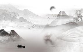 高端渔船日出山水背景墙