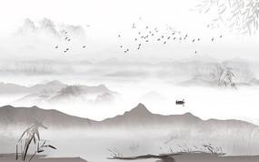 高清飞鸟山水背景墙