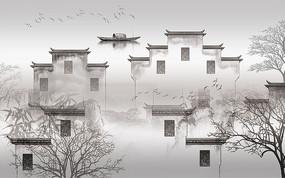 高清中式江南水乡渔船背景墙
