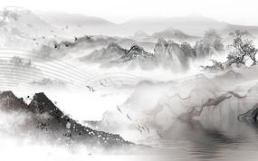 黑白山水背景墙