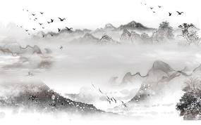 简约飞鸟山水背景墙