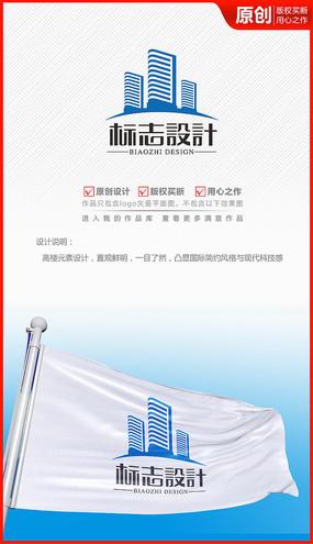 建筑建设工程房地产高楼logo商标志