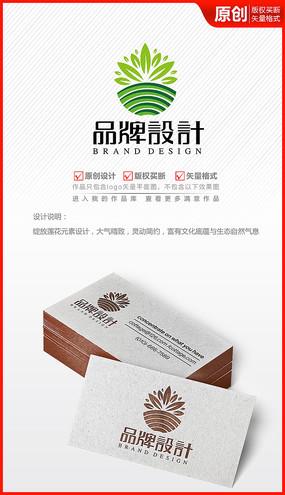 莲花多肉植物logo商标志设计 AI