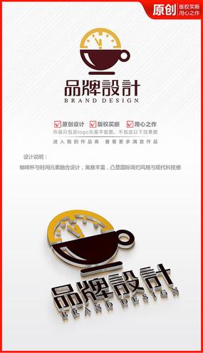 时间咖啡馆厅logo商标志设计