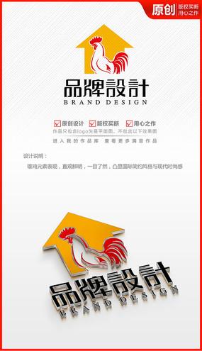 大公鸡卡通手绘简约logo商标志设计