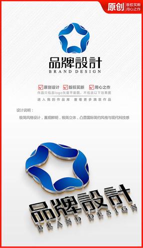 丝带五角星电子电器logo