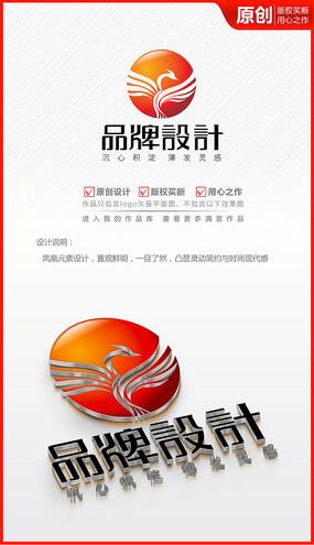 展翅凤凰logo商标志设计