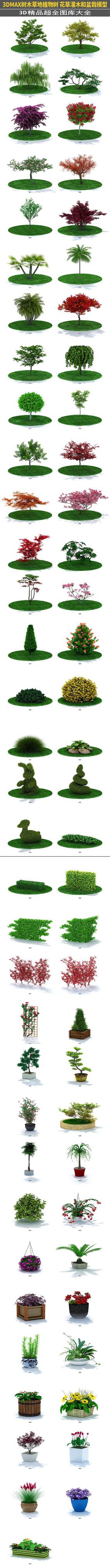 草地植物树园林园艺盆栽3d模型图集