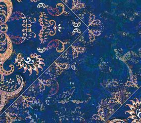 高端大气欧式蓝色复古花纹背景墙