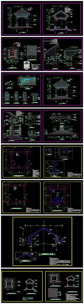 精品欧式风格景观亭CAD施工图