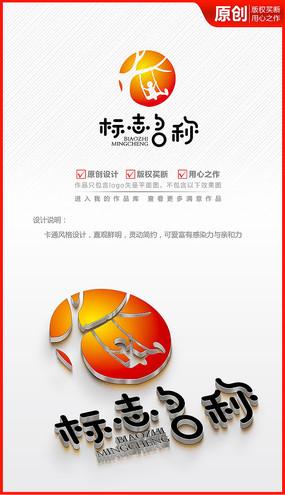 成长快乐荡秋千儿童年logo商标志设计
