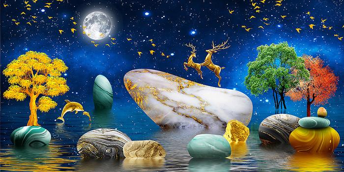 新中式石来运转麋鹿山水抽象晶瓷画装饰画