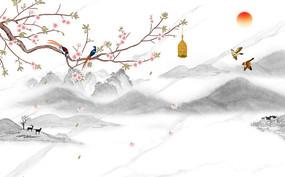 新中式桃花山水背景墙