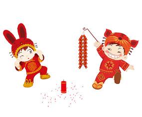 原创喜庆过年春节点鞭炮的男女娃娃
