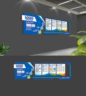 蓝色大气企业文化墙模板