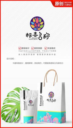 七彩色树叶艺术绘画教育学校logo商标志