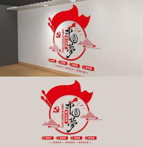 竖版圆形同心共筑中国梦党建文化墙