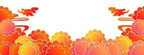 彩色祥云花朵喜慶節日裝飾元素