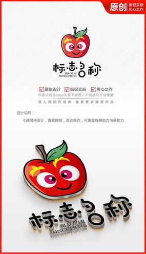 红苹果卡通儿童logo商标志设计