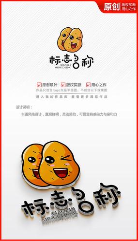 可愛卡通土豆薯片薯條logo商標志設計